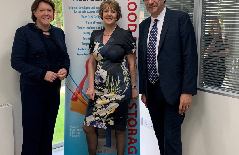 Maria is pictured with James Morris MP and Suzanne Clubley, MD of Labcold