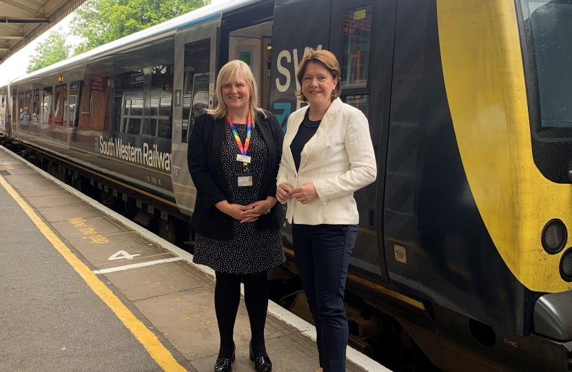 Maria Miller and Jenny Keen at Basingstoke Station